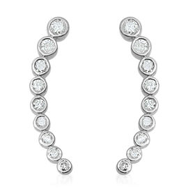 9K W Gold SGL Certified Diamond (Rnd) (I3/ G-H) Climber Earrings 1.000 Ct.