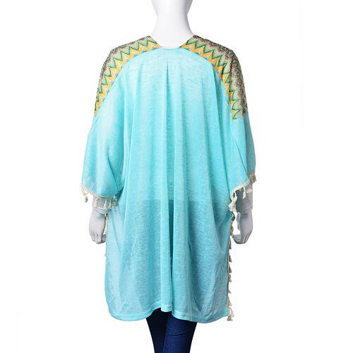 Multi Colour Rhombus Pattern Blue Colour Poncho with Tassels (Size 80X70 Cm)