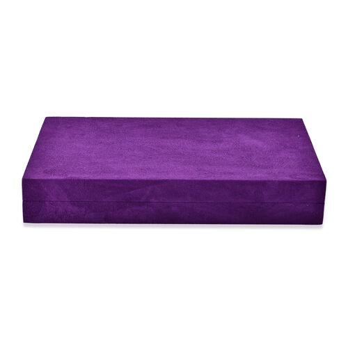 Purple Colour Velvet Multi Slots Jewelry Box with Pouch Pocket Inside (Size 32x19.5x6 Cm)