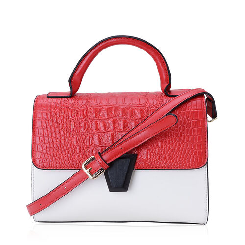 Red Colour Croc Embossed Hand Bag with External Zipper Pocket and Adjustable Shoulder Strap (Size 26x19x8 Cm)