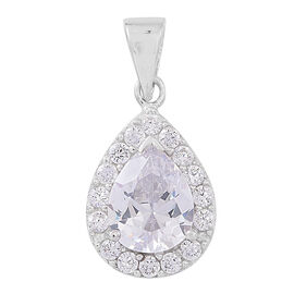 AAA White Topaz (Pear) Pendant in Rhodium Plated Sterling Silver 3.000 Ct.