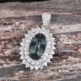 9K W Gold Bondi Blue Tanzanite (Ovl 3.50 Ct), Natural Cambodian Zircon Pendant 5.000 Ct.