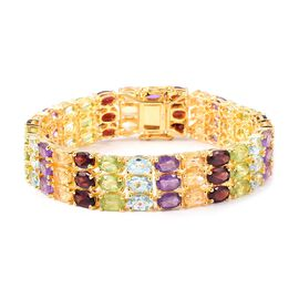 Close Out Deal Mozambique Garnet (Ovl), Sky Blue Topaz, Hebei Peridot, Citrine and Amethyst Bracelet in Yellow Gold Overlay Sterling Silver (Size 8) 47.750 Ct.