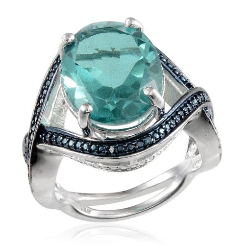 Paraiba Tourmaline Colour Quartz (Ovl 10.00 Ct), Blue Diamond Ring in Platinum Overlay Sterling Silver 10.020 Ct.