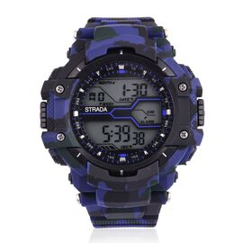 STRADA Electronic Movement LED Display Watch with Stainless Steel Back and Blue Camouflage Silicone Strap