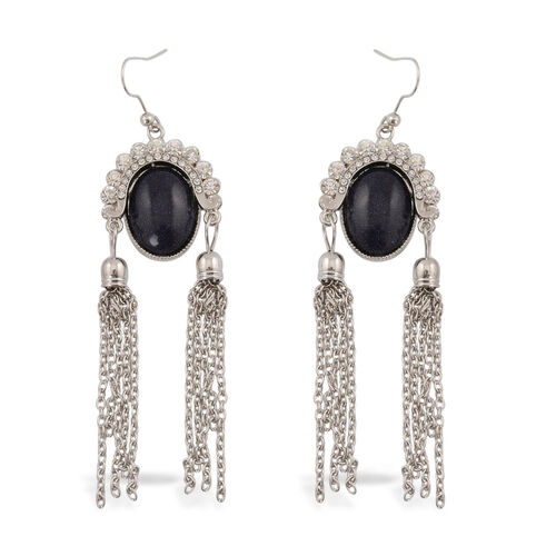 Blue Goldstone and White Austrian Crystal Hook Earrings in Silver Tone 6.010 Ct.