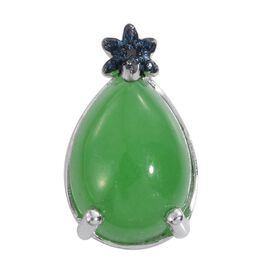 Green Jade (Pear), Blue Diamond Pendant in Platinum Overlay Sterling Silver 6.500 Ct.
