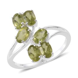 Hebei Peridot (Ovl) Leaves Crossover Ring in Sterling Silver 3.000 Ct.
