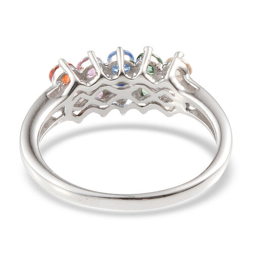 J Francis - Platinum Overlay Sterling Silver (Rnd) Ring Made with Green, Yellow, Pink, Orange and Blue SWAROVSKI ZIRCONIA 1.100 Ct.