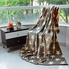 100% Supersoft Microfibre Flannel Reversible Stars and Stripes Silver Blanket (Size 200x150 Cm)