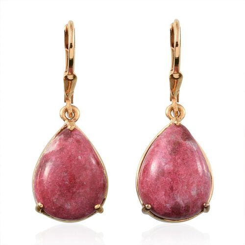 Norwegian Thulite (Pear) Earrings in 14K Gold Overlay Sterling Silver 18.000 Ct.