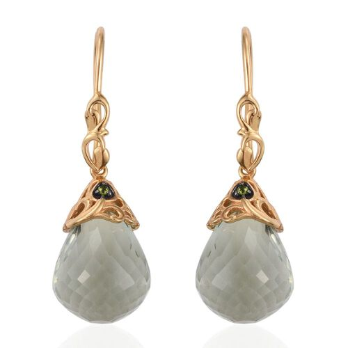 GP Green Amethyst, Russian Diopside and Kanchanaburi Blue Sapphire Drop Hook Earrings in 14K Gold Overlay Sterling Silver 25.100 Ct.