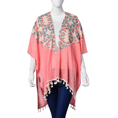 Multi Colour Damask Pattern Pink Colour Poncho with Tassels (Size 80X70 Cm)