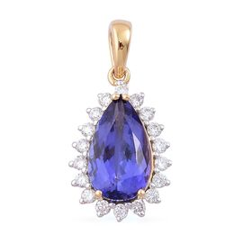 ILIANA 18K Yellow Gold 3 Carat AAA Tanzanite Pear, Diamond SI G-H Pendant.