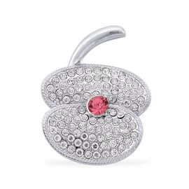 Simulated Pink Sapphire and White Austrian Crystal Flower Brooch in Silver Tone