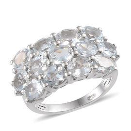 Espirito Santo Aquamarine (Ovl) Ring in Platinum Overlay Sterling Silver 3.250 Ct.