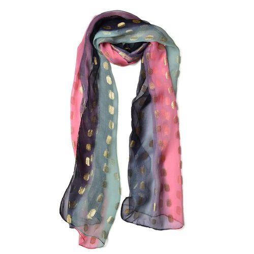 100% Mulberry Silk Golden Dot Pattern Navy, Pink and Multi Colour Scarf (Size 180X55 Cm)