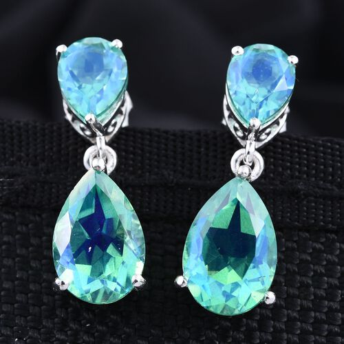 Peacock Quartz (Pear) Earrings (with Push Back) in Platinum Overlay Sterling Silver 9.500 Ct.