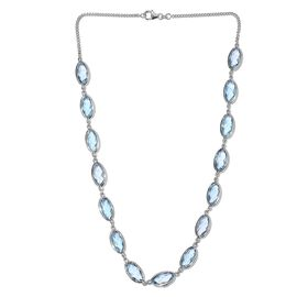 Sky Blue Topaz (Ovl) Necklace (Size 18) in Platinum Overlay Sterling Silver 62.500 Ct.