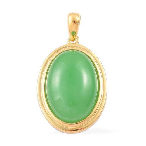 Green Jade (Ovl) Pendant in Yellow Gold Overlay Sterling Silver 13.750 Ct.