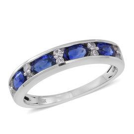 9K W Gold AAA Ceylon Sapphire (Ovl), White Sapphire Half Eternity Band Ring 1.500 Ct.