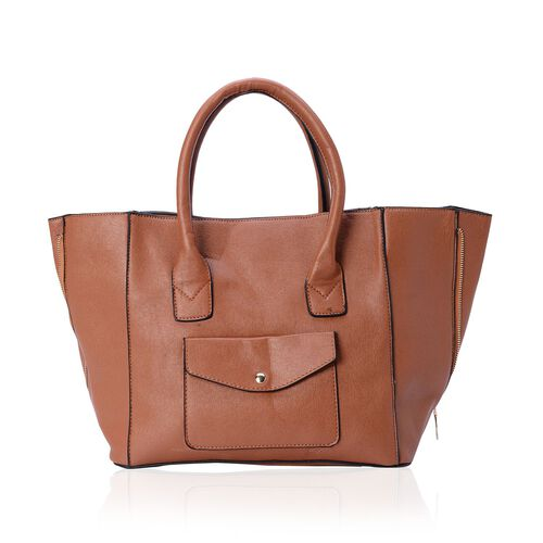 Set of 2 - Chocolate Colour Large and Small with Adjustable and Removable Shoulder Strap Tote Bag (Size 53x28x18 Cm, 25x21x10 Cm)