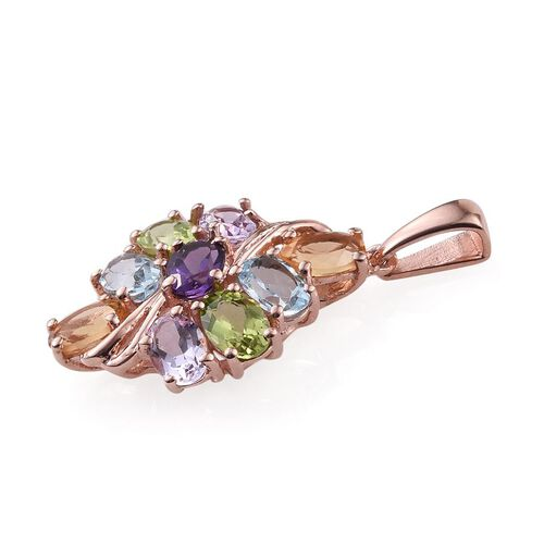 Sky Blue Topaz (Ovl), Amethyst, Hebei Peridot, Rose De France Amethyst and Citrine Pendant in Rose Gold Overlay Sterling Silver 4.250 Ct.