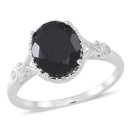 Boi Ploi Black Spinel (Ovl 4.40 Ct), Natural Cambodian White Zircon Ring in Sterling Silver 4.500 Ct.