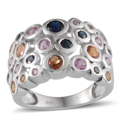 Orange Sapphire (Rnd), Kanchanaburi Blue Sapphire and Pink Sapphire Ring in Platinum Overlay Sterling Silver 2.750 Ct.