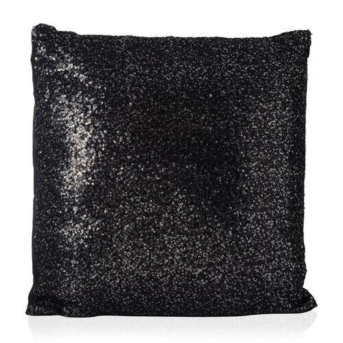 Black Colour Cushion with Silver Sequins (Size 42x42 Cm)