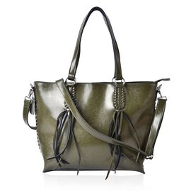 Genuine Leather Green Colour Tote Bag with External Zipper Pocket with Tassels, Adjustable and Removable Shoulder Strap (Size 40x32x28x11 Cm)