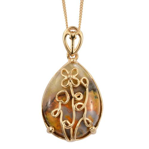 Bumble Bee Jasper (Pear) Pendant with Chain in 14K Gold Overlay Sterling Silver 10.500 Ct.