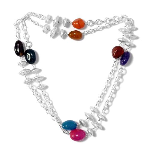Multi Agate Necklace (Size 36) in Silver Tone 140.210 Ct.