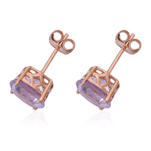 Rose De France Amethyst (Rnd) Stud Earrings (with Push Back) in Rose Gold Overlay Sterling Silver 5.000 Ct.