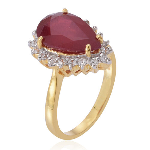 African Ruby (Pear 6.25 Ct), Natural Cambodian White Zircon Ring in 14K Gold Overlay Sterling Silver 7.000 Ct.