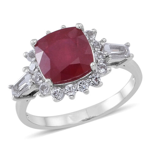 African Ruby (Cush 4.80 Ct), White Topaz Ring in Rhodium Plated Sterling Silver 6.000 Ct.