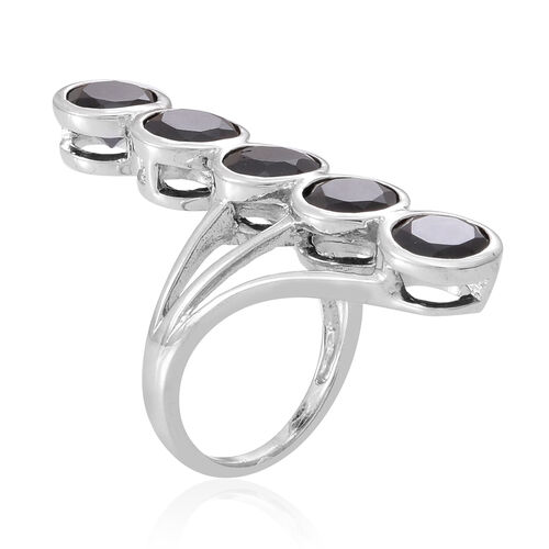 Boi Ploi Black Spinel (Rnd) 5 Stone Ring in Rhodium Plated Sterling Silver 8.500 Ct.