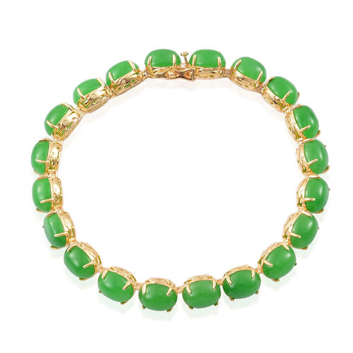 Green Jade (Ovl) Dragon Bracelet (Size 7.5) in Yellow Gold Overlay Sterling Silver 50.250 Ct.