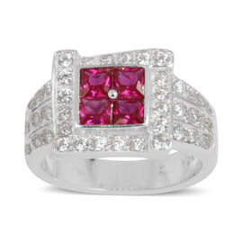 ELANZA AAA Simulated Ruby (Sqr), Simulated Diamond Ring in Rhodium Plated Sterling Silver