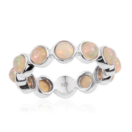 Ethiopian Welo Opal (Rnd) Full Eternity Ring in Platinum Overlay Sterling Silver 1.750 Ct.