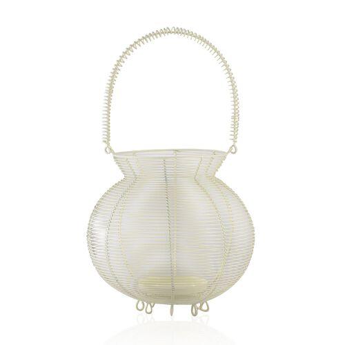 (Option 3) Home Decor - Handicraft Lantern Made of White Wire