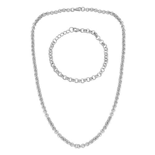Belcher Necklace (Size 20) and Bracelet (Size 8 with 1 inch Extender) in Stainless Steel