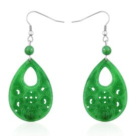 Close Out Deal Green Jade (Pear) Hook Earrings 40ct