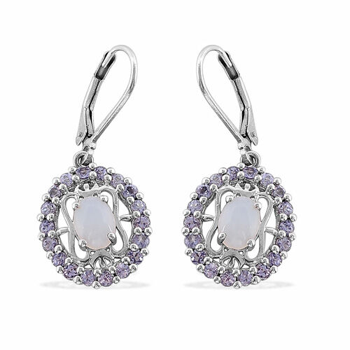 Welo Opal (0.90 Ct),Tanzanite Platinum Overlay Sterling Silver Earring  2.550  Ct.