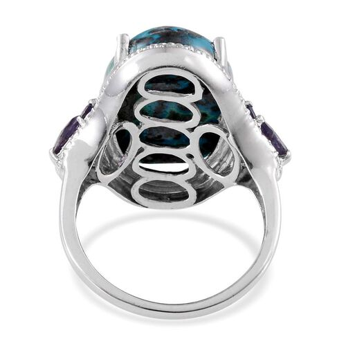 Table Mountain Shadowkite (Ovl 14.25 Ct), Iolite and Diamond Ring in Platinum Overlay Sterling Silver 14.770 Ct.