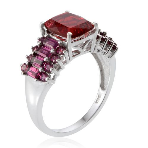 Ruby Quartz (Cush 3.25 Ct), Rhodolite Garnet Ring in Platinum Overlay Sterling Silver 5.550 Ct.