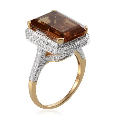 Alexite (Oct 13.50 Ct), Diamond Ring in 14K Gold Overlay Sterling Silver 13.550 Ct.