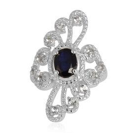 Kanchanaburi Blue Sapphire (Ovl 1.68 Ct), White Topaz Ring in Rhodium Plated Sterling Silver 2.400 Ct.