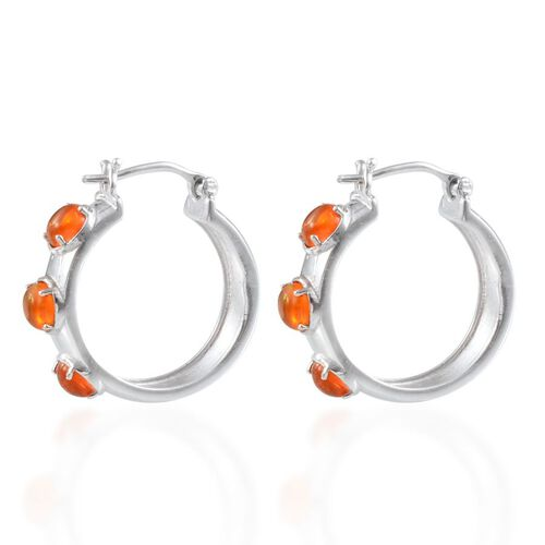 Orange Ethiopian Opal (Rnd) Hoop Earrings in Platinum Overlay Sterling Silver 1.500 Ct.