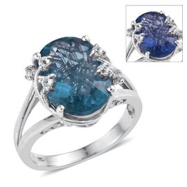 Colour Change Fluorite (Ovl 9.50 Ct), White Topaz Ring in Platinum Overlay Sterling Silver 9.750 Ct.